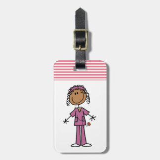 Enfermera afroamericana etiquetas para equipaje