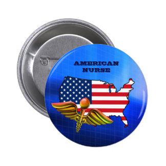 Enfermera americana. Botones patrióticos del Pin Redondo De 2 Pulgadas