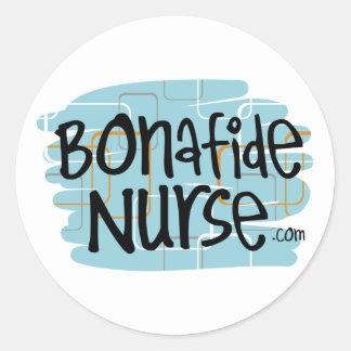 Enfermera auténtica pegatina redonda
