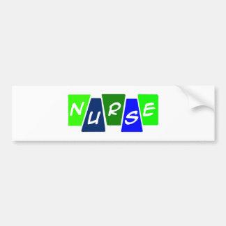 Enfermera - azulverde pegatina para auto