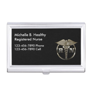 Enfermera con clase médica cajas de tarjetas de visita