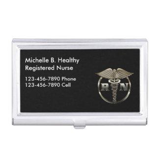 Enfermera con clase médica cajas de tarjetas de presentación