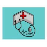 Enfermera con el CASQUILLO y el ESTETOSCOPIO GRABA Postales