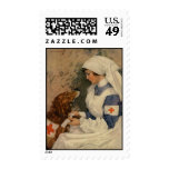 Enfermera con el golden retriever 1917 sello