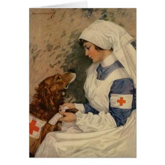 Enfermera con el golden retriever 1917 tarjeton