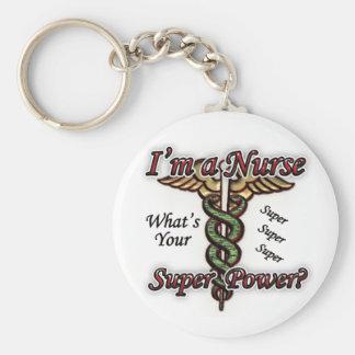 Enfermera con superpoder llavero redondo tipo pin