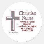 Enfermera cristiana Cross2 Etiqueta Redonda