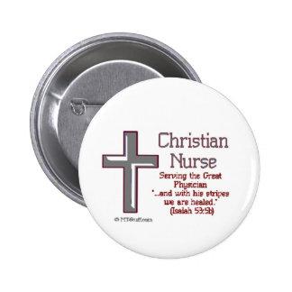 Enfermera cristiana Cross2 Pin Redondo 5 Cm