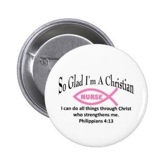 Enfermera cristiana pin redondo de 2 pulgadas