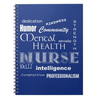 Enfermera-Cualidades/arándano de la salud mental Libro De Apuntes Con Espiral