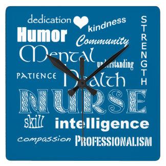 Enfermera-Cualidades/azul de la salud mental+Coraz Reloj Cuadrado