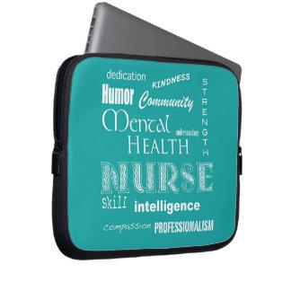 Enfermera-Cualidades de la salud mental/azulverde Fundas Portátiles