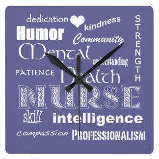 Enfermera-Cualidades/lila de la salud mental+Coraz Reloj Cuadrado