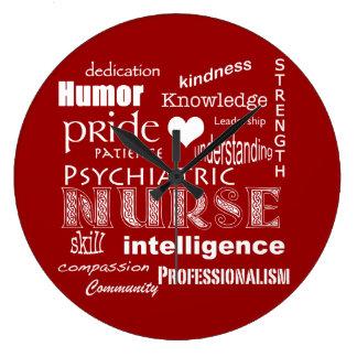 Enfermera-Cualidades psiquiátricas/rojo+Corazón Reloj Redondo Grande