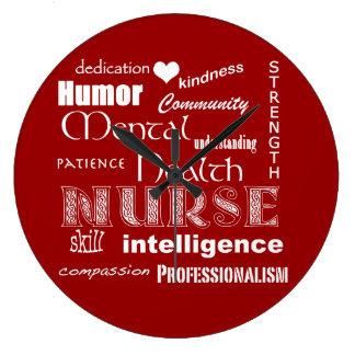 Enfermera-Cualidades/rojo de la salud mental+Coraz Reloj Redondo Grande