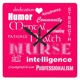 Enfermera-Cualidades/rosa de la salud Reloj Cuadrado