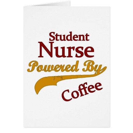 Enfermera de estudiante accionada por el café tarjeta de felicitación