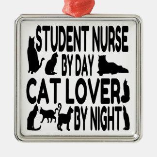 Enfermera de estudiante del amante del gato ornamentos de navidad