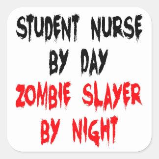 Enfermera de estudiante del asesino del zombi pegatina cuadrada
