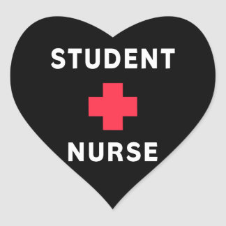 Enfermera de estudiante pegatina en forma de corazón