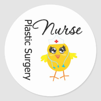 Enfermera de la cirugía plástica del polluelo v1 pegatinas redondas