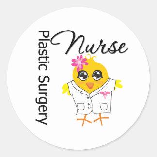 Enfermera de la cirugía plástica del polluelo v2 etiquetas redondas
