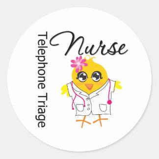 Enfermera de la clasificación del teléfono del pegatina redonda