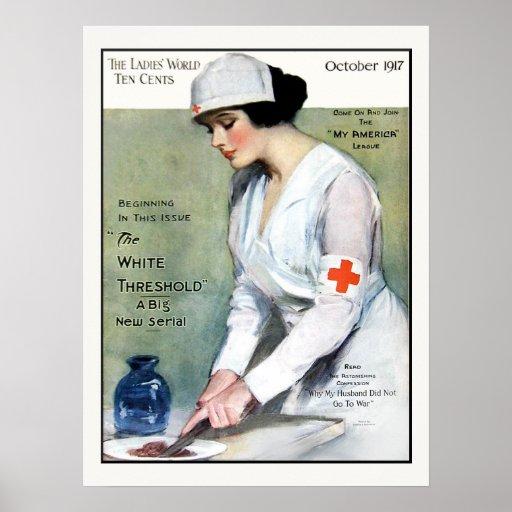 Enfermera de la Cruz Roja de la revista de las señ Poster