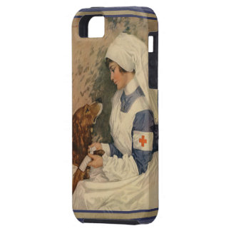 Enfermera de la Cruz Roja del vintage con el perro iPhone 5 Fundas