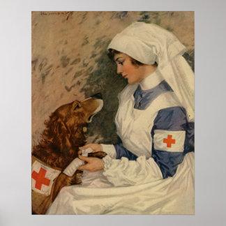 Enfermera de la Cruz Roja del vintage con golden Póster