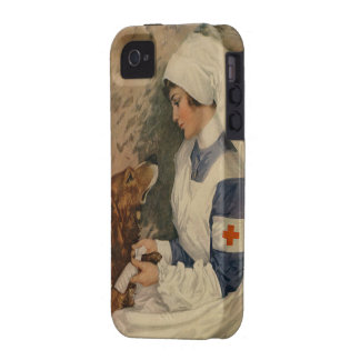 Enfermera de la Cruz Roja del vintage con golden r iPhone 4/4S Carcasas
