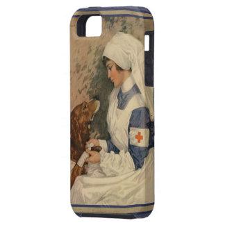 Enfermera de la Cruz Roja del vintage con golden r iPhone 5 Case-Mate Carcasa