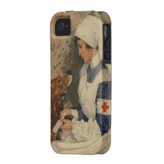 Enfermera de la Cruz Roja del vintage con golden Vibe iPhone 4 Carcasa
