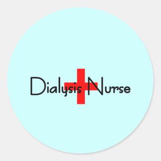 Enfermera de la diálisis etiqueta redonda