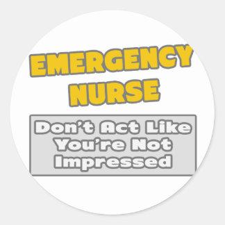 Enfermera de la emergencia. Le impresionan Pegatina Redonda