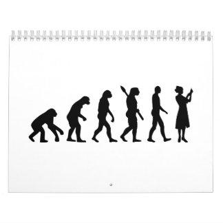 Enfermera de la evolución calendario de pared