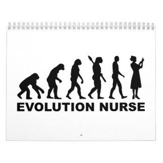 Enfermera de la evolución calendarios de pared