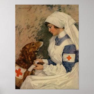 Enfermera de la guerra con el golden retriever 191 poster