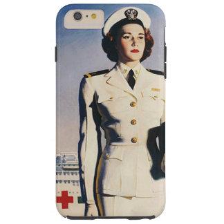 Enfermera de la marina de guerra del vintage WWII Funda De iPhone 6 Plus Tough