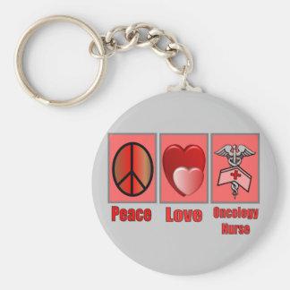 Enfermera de la ONCOLOGÍA del amor de la paz Llavero Redondo Tipo Pin