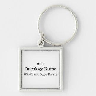 Enfermera de la oncología llavero cuadrado plateado