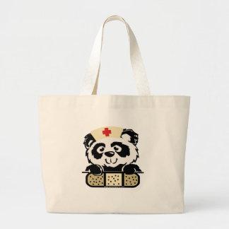 Enfermera de la panda bolsa tela grande