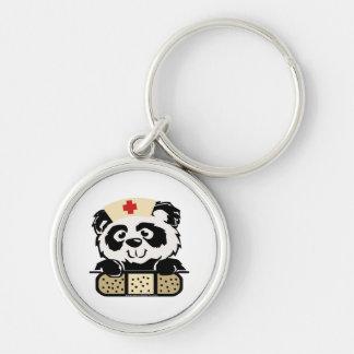 Enfermera de la panda llavero redondo plateado