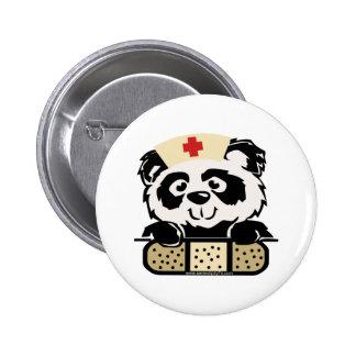 Enfermera de la panda pin redondo de 2 pulgadas