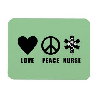 Enfermera de la paz del amor iman rectangular