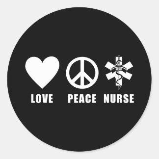 Enfermera de la paz del amor pegatinas redondas