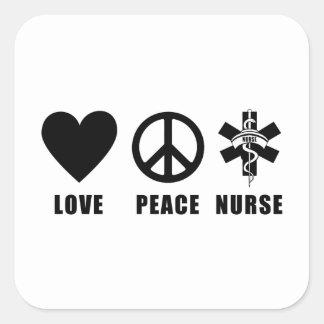 Enfermera de la paz del amor pegatina cuadrada