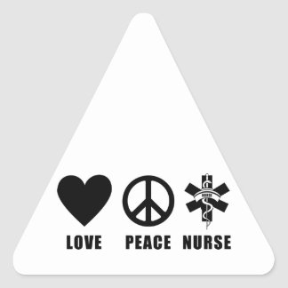 Enfermera de la paz del amor pegatina triangular