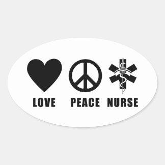 Enfermera de la paz del amor pegatina ovalada