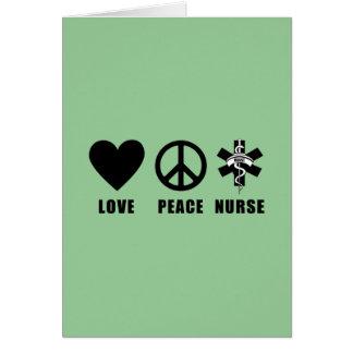 Enfermera de la paz del amor tarjeta pequeña